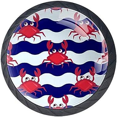 Crabe Rouge à Rayures Bleues et Blanches Boutons D'armoire 4 Pcs Poignés Poignée De Champignons Boutons D'aluminium P