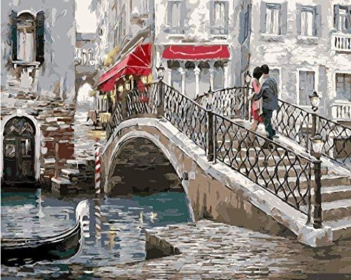 QIAOYUE Pintar por números Adulto y niños DIY Kit de Pintura Lienzo preimpreso Lienzo decoración del hogar Pintura al óleo sin Marco Arco Puente Amantes