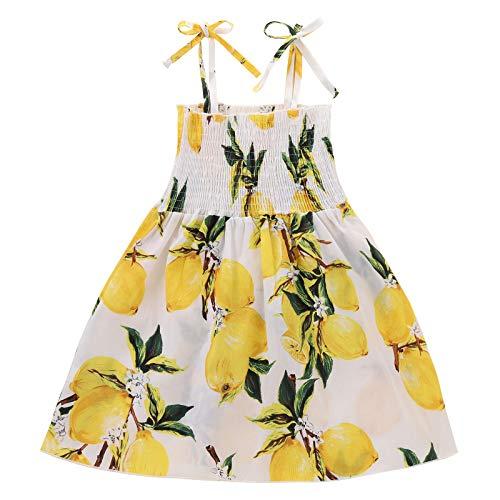Julhold Vestido sin mangas para bebés y niñas, con estampado de limón, informal, sin tirantes, para verano