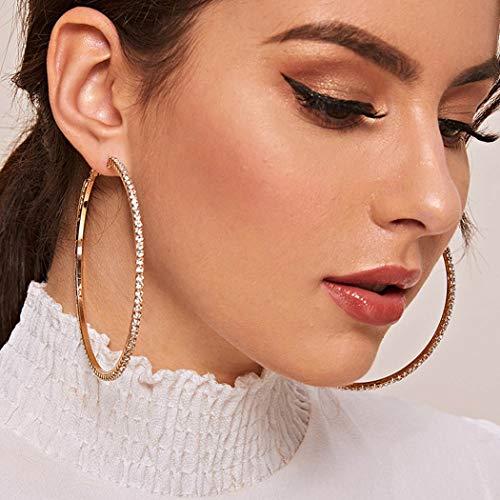 Sethain Boho Cerceau Boucle d'oreille strass Or Boucles d'oreilles cercle en cristal Dangle Accessoires d'oreille Bijoux pour femmes et filles