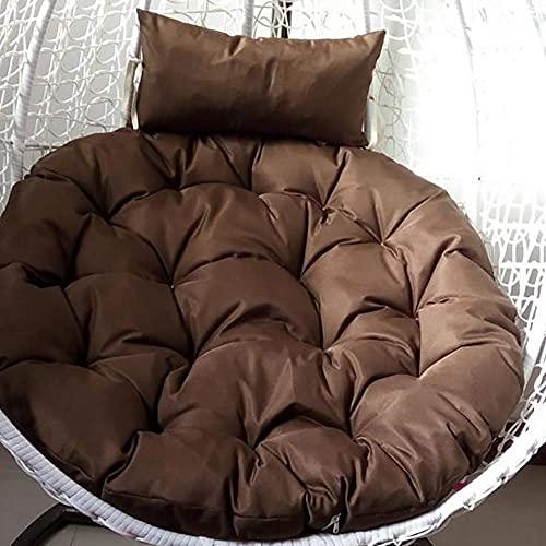 DIELUNY Cojines redondos acolchados para silla, cesta de respaldo para el hogar, transpirable, overstuffed Swing colgante balcón ratán mimbre silla cojines color café 103 x 103 cm
