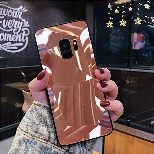 TGHUK Coque Samsung,Rose Gold 3D Diamond Glitter Mirror Phone Case Silicone Soft Candy Back Cover for Samsung Galaxy Note 8 9 S7 S8 S9, for Galaxy S8 Plus