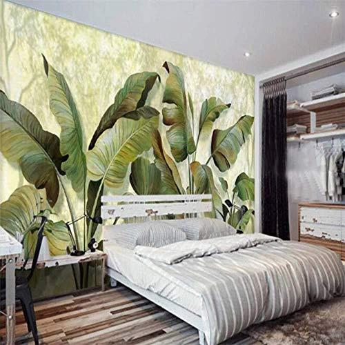 affreschi personalizzati bellissimo sogno verde fresco foglie di banano foglie di banano pittura sfondo muro 3d carta da p Carta Da Parati Fotomurali moderna cucina colla camera da letto-350cm×256cm