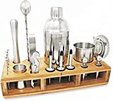 Premium Mixology Bartender Kit - Home Bar Tools & Accessories for Drink Mixing - 24 Piece Cocktail Shaker Set - Stainless Steel Barware Kit & Stylish Wooden Stand - Cocktail Lover Gift Set