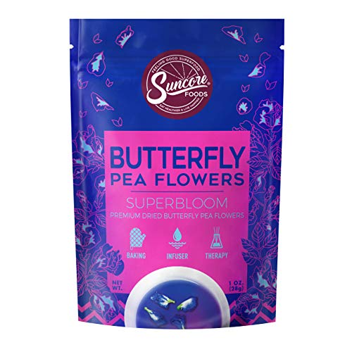 Suncore Foods - Premium Dried Butterfly Pea Flowers Superbloom, No Caffeine, No Preservatives, 1oz (1 Pack)
