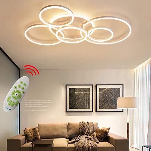 Decken Lampe LED Dimmbar mit Fernbedienung, Groß Wohnzimmerlampe Modern Deckenleuchte Lichtfarbe/Helligkeit Einstellbar Schlafzimmerlampe Acryl Metallrahmen Pendelleuchte (Weiß, Decken-6-lampe, 108W)