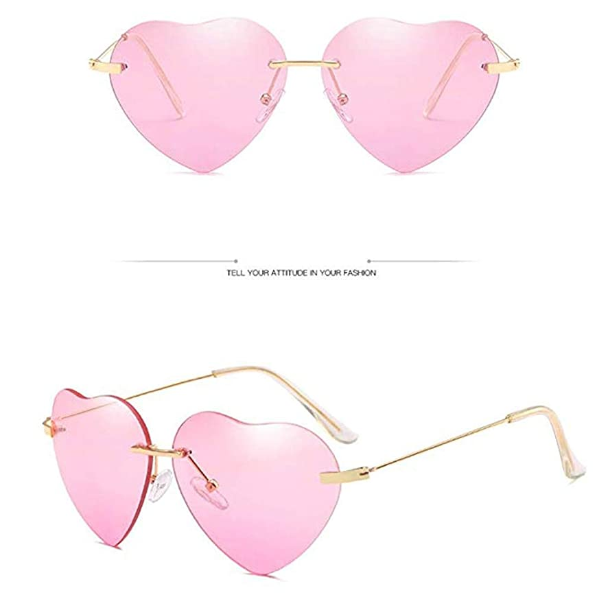 KCPer New Retro Sunglasses Love Ocean Piece Street Beat Peach Heart Shaped Vintage Metal Goggles Candy Color