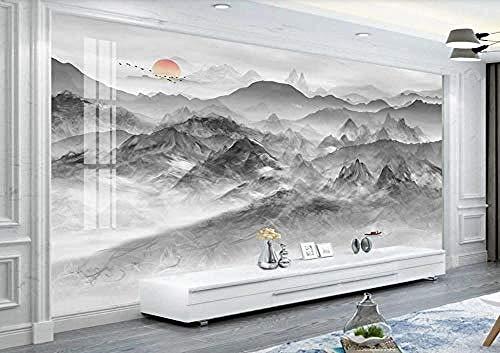 Behang 3D-inktlandschap nieuwe Chinese zwart-wit-moderne op maat gemaakte muurschildering-fotobehang-wandafbeeldingen 300cmx210cm