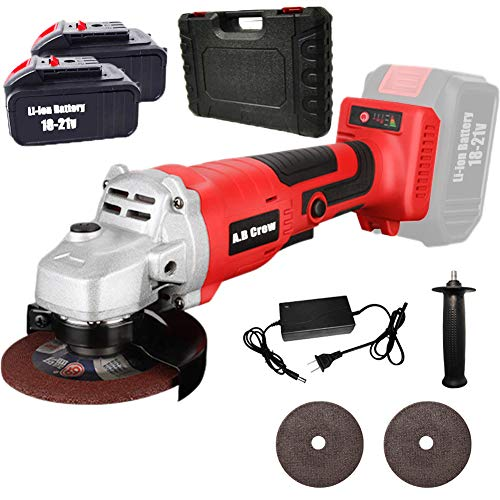 """A.B Crew Cordless Power Brushless Angle Grinder Kit 20V 4.0Ah 9800RPM 4-1/2"""" 2 Lithium-Ion Battery Packs for Grinding Cutting Polishing Auxiliary Handle with Tool case"""
