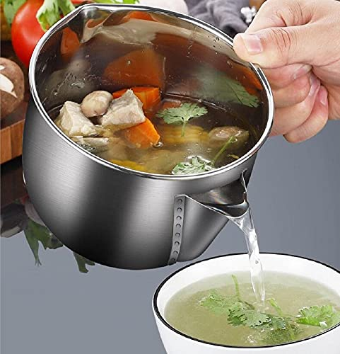Fat Separator Stainless Steel Gravy Separator 4 Cup to Reduce Fat Intake Large Kitchen Strainer with Lid for Healthy Cooking and Weight watchers
