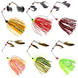 SILANON Bass Spinner Baits Kit, 6pcs Hard Metal Spinner Bait Jigs Lure Buzzbait Swimbait for Bass Pike Trout Salmon Freshwater Saltwater Fishing