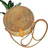 Kbinter - Bolsa de mano de mimbre para mujer con correas de botón de piel, hecha a mano, estilo bohemio, Multi color (1 paquete), Large