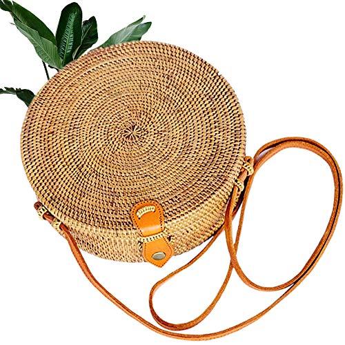Kbinter Handwoven Round Rattan Straw Bag for Women Shoulder Leather Button Straps Natural Chic Handmade Boho Bag Bali Purse (1 Pack)