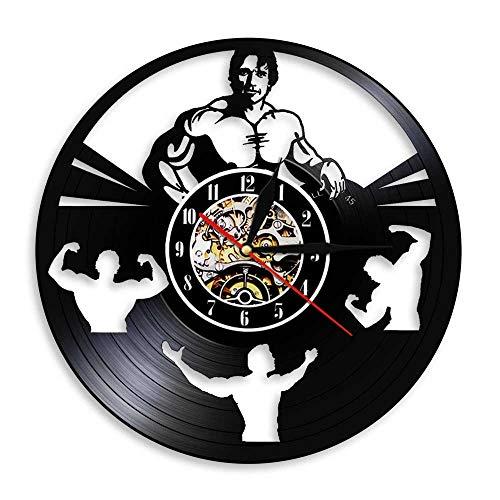 Eld Bodybuilding Men Arnold Schwarznegger Reloj de Pared con Disco de Vinilo Gym Workout Fitness Daren Decoración Colgante Moda Música Moderna Arte Record Relojes de Pared