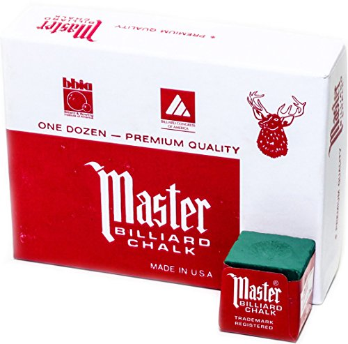 Review Master Billiard/Pool Cue Chalk Box, 12 Cubes, Spruce