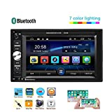 UNITOPSCI Car Multimedia Player - Double Din, Bluetooth Audio and Calling, 6.2 Inch LCD Touchscreen Monitor, MP5 Player, WMA, USB, SD, Auxiliary Input, FM Radio Receiver,Rear View Backup Camera