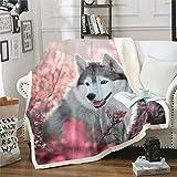 Feelyou Husky Sherpa Blanket Cute Dog Sakura Fleece Throw Blanket for Kids Girls Cherry Blossom Plush Blanket Botanical Flowers Fuzzy Blanket Soft Lightweight Pink 50'X60'