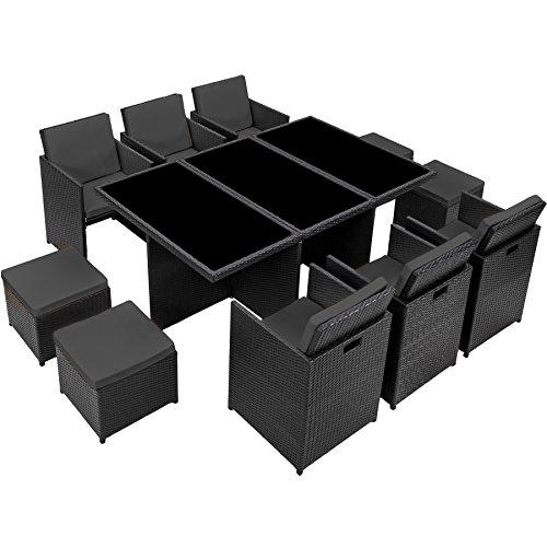 TecTake Poly Rattan Aluminium Gartengarnitur Sitzgruppe 6+1+4, Edelstahlschrauben - Diverse Farben - (Schwarz | Nr. 401454) - 8