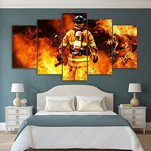 LZLZ 5 Leinwandbilder HD-Druck 5-teiliges Leinwandbild Feuerwehrmann Feuerwehr Gemälde Wandbilder Poster Druck Hintergrund Dekoration Geschenk (ohne Rahmen)