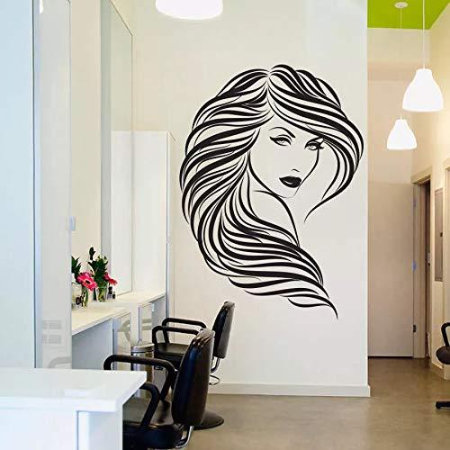 WERWN Pegatina de Pared para salón de Belleza, Vinilo para niña, peluquería, Peinado, peluquería, Pegatina de Pared para decoración