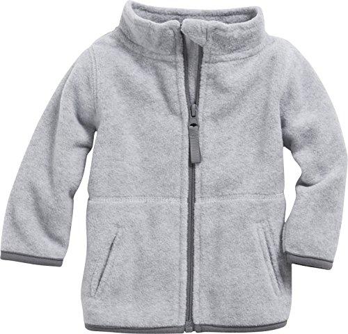 Schnizler Unisex Baby Jacke Fleecejacke, Babyjacke mit Kontrastnähten, Grau (Grau/Melange 37), 62