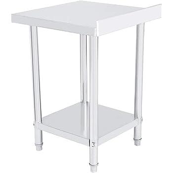 EBTOOLS - Mesa de trabajo de cocina de acero inoxidable con borde para encimera de trabajo y cocina, 2 estantes, mesa de trabajo profesional, estable, 3 tamaños a elegir, 91 * 61 * 85cm: Amazon.es: Hogar