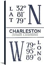 Charleston, South Carolina - Latitude and Longitude (Blue) (16x24 Gallery Wrapped Stretched Canvas)