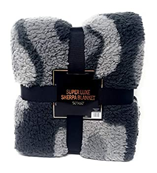 Warm & Snuggly Sherpa Throw Blanket Super Soft 50 x 60 inches Grey Camouflage Super Luxe Fleece Throw Blankets