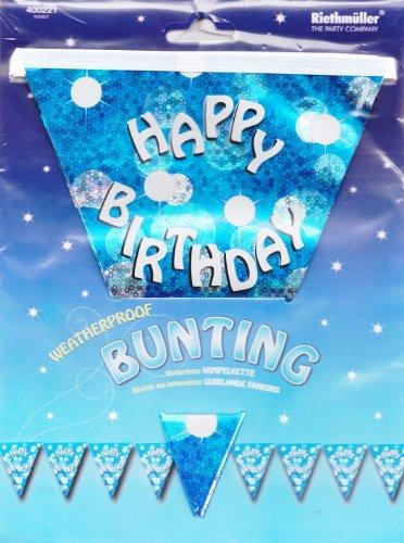 amscan International Bleu pailleté Party 4 m Guirlande Drapeau bannière d'anniversaire Inscription Happy Birthday