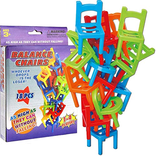 puhuoqi New Chairs Stacking Tower Balancing Game, 18-teiliger Kunststoff-Stapel-Hängesessel, Kinder-Balance-Stapelstühle Toy Party Stacking Toys Familien-Puzzle-Brettspiele für Kinder