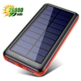 Solar Charger, 26800mAh Solar Battery Power Bank Portable Charger with Smart 4 Indicator