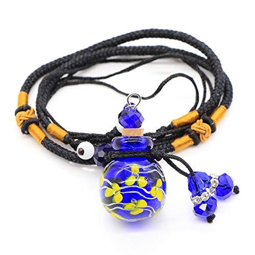 RTYGH Aromaterapia Collar de Botella de la Suerte Bola Redonda Flor Interior Cristal Hecho a Mano Botella de Aceite Esencial Collar Suéter Cadena-Drak Azul
