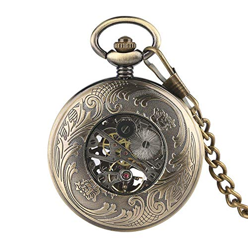 DYR Reloj de Bolsillo Reloj de Bolsillo mecánico Vintage Hombres Números Romanos Azules Pantalla Reloj Colgante Transparente Regalos para Mujeres Reloj de Cuerda Manual
