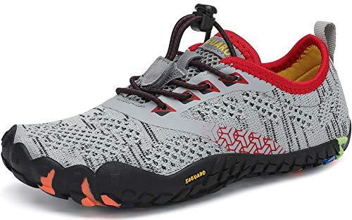 SAGUARO Barefoot Zapatillas de Trail Running Niños Niñas Minimalistas Zapatos de Deporte Antideslizantes Calzado Descalzos para Fitness Caminar Correr en Asfalto Montaña Senderismo Agua, Gris, 33 EU