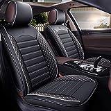 Fundas de asiento de coche compatibles con E Class W210 W211 W212 Universal Faux Leather Front Rear Auto 5-Seat Custom Set completo Protector Airbag Compatible Impermeable Anti Scratch Asiento de coc
