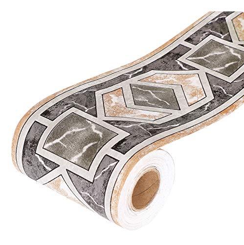 Yoillione Tapete Bordüre Selbstklebend Bordüren Breit Tapetenbordüre schwarz, Wasserdichte PVC Klebe Bad Bordüre Küche Wandbordüre Muster für Wohnzimmer Badezimmer Schlafzimmer Wanddeko