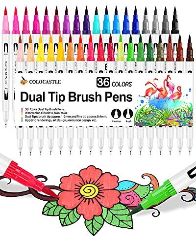 Rotuladores Lettering Brush Pen, 36 Colores, Acuarelables Marcadores para Adultos, Bullet Journal, Caligrafía, Libros para...