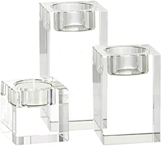 Myoou Crystal Glass Candlestick Holders Pillar Candle Stand Clear Tealight Candle Holder for Table Home Decor Party/Wedding/Christmas Decorative Candle Holders Set(3Pack, 3 Sizes)