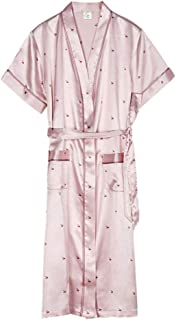 Ice Silk Robe, Women's Thin Robe, Casual Home wear, Women's Summer Short-Sleeved Bathrobe, Lapel, lace-up, Pocket Design, Soft and Comfortable (Color : Pink, Size : S)