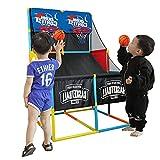 YQZ Juego de Baloncesto Arcade Doble para niños para Interiores y Exteriores, aro de Baloncesto y Soporte de Red, con Bola y Bomba Incluidas, fácil de Montar