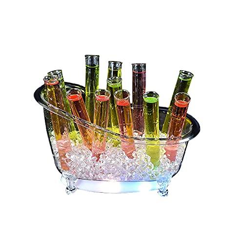 Cubo de hielo LED con 12 tubos de ensayo, cubo de hielo de vino contenedores de bebidas con varios colores cambiantes, soporte de exhibición de licor para fiesta/hogar/bar