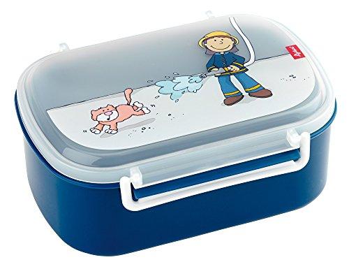 SIGIKID Mädchen und Jungen, Kinder Brotdose mit buntem Druck, Lunchbox Frido Firefighter für Kindergarten, Schule & Ausflüge, BPA-frei, empfohlen ab 2 Jahren, blau, 24474