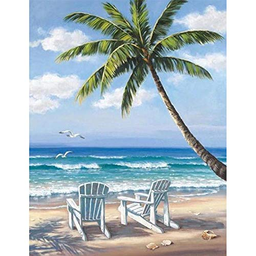 Kit de pintura de diamantes 5D, Silla de playa azul cielo DIY 5D Diamond painting, manualidades para decoración de pared, lienzo 30x40 cm (Sin marco)