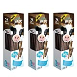 Milk Magic Chocolate Milk Flavoring Straw | Gluten-Free BPA free Non-GMO Low in Sugar All-natural Flavor Straws | Encourage Milk Drinking with Flavor-Filled Straws - 24 Count, Pack of 3