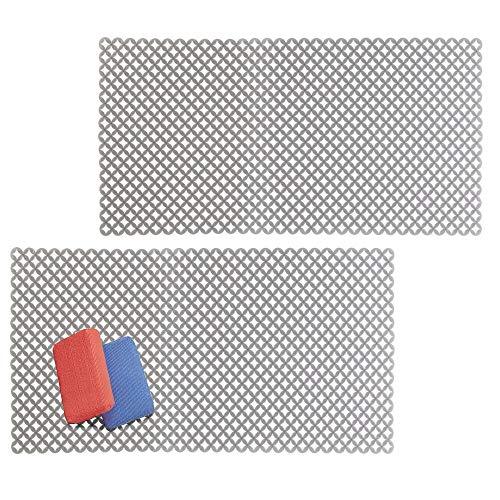 mDesign Decorative Kitchen Sink Dish Drying Mat/Grid - Plastic Farmhouse Sink Protector, Cushions, Stemware, Wine Glasses, Dishes - Quick Draining Diamond Design, XL, 25' Long - 2 Pack - Graphite Gray