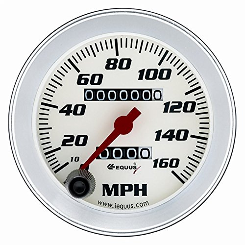 3-3/8' Speedometer White with Silver Bezel Equus 8076