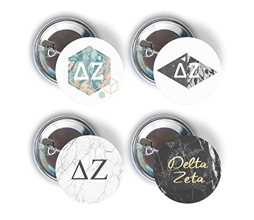 Delta Zeta Sorority 4 Pieces of Variety Buttons Pin Back Badge 2.25-inch DZ - Marble Pack