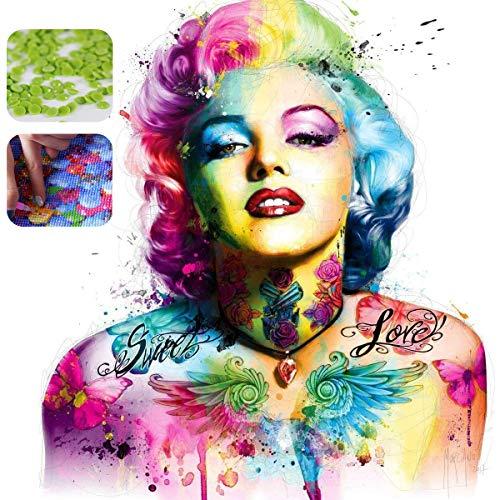 5D diy pintura diamante taladro completo kit,Cristal diamante Bordado Pinturas Artes kit de punto de cruz para decoración de la pared del hogar,Marilyn Monroe(30x40cm)