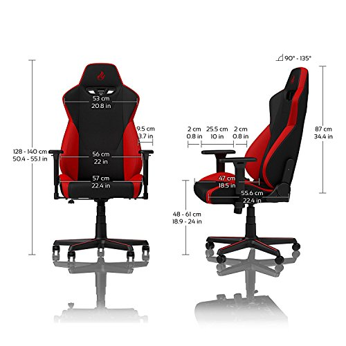 NITRO CONCEPTS S300 Gaming Chair - Inferno Red - Office Chair - Ergonomic - Cloth Cover - Up to 300 lbs Users - 90° to 135° Reclinable - Adjustable Height & Armrests