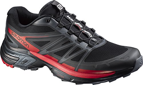 Salomon Wings PRO 2, Scarpe Running Uomo, Nero (Black/Dark Cloud/Radiant Red), 45 1/3 EU